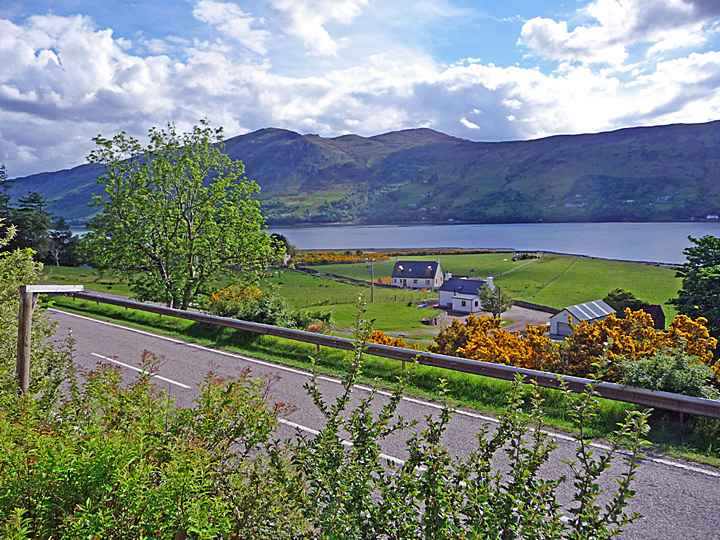 Looking along the A835 from Broomview B&B near Ullapool